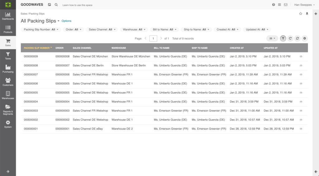 Screenshot of the Packing Slip Grid