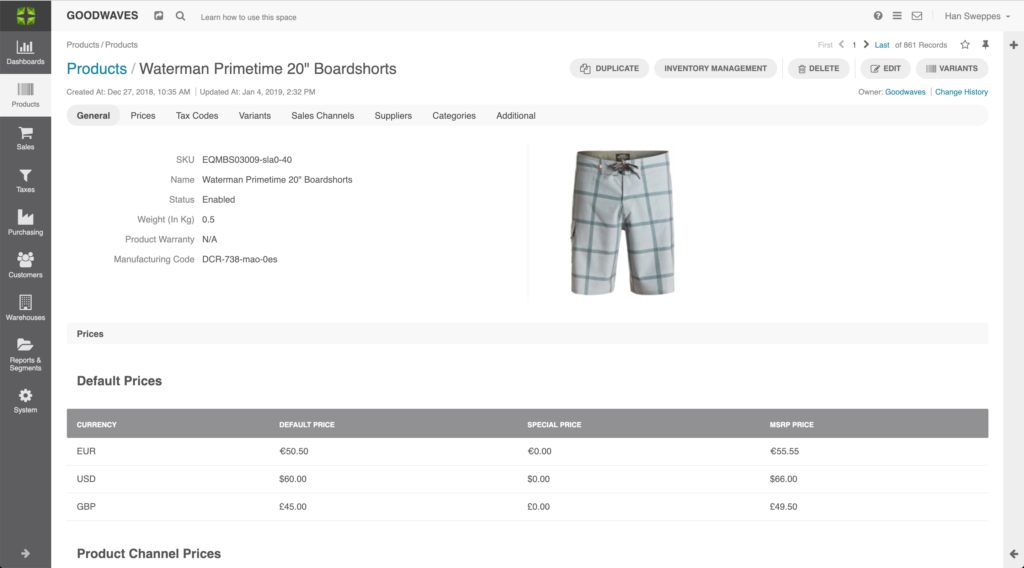 Screenshot of product view in Marello