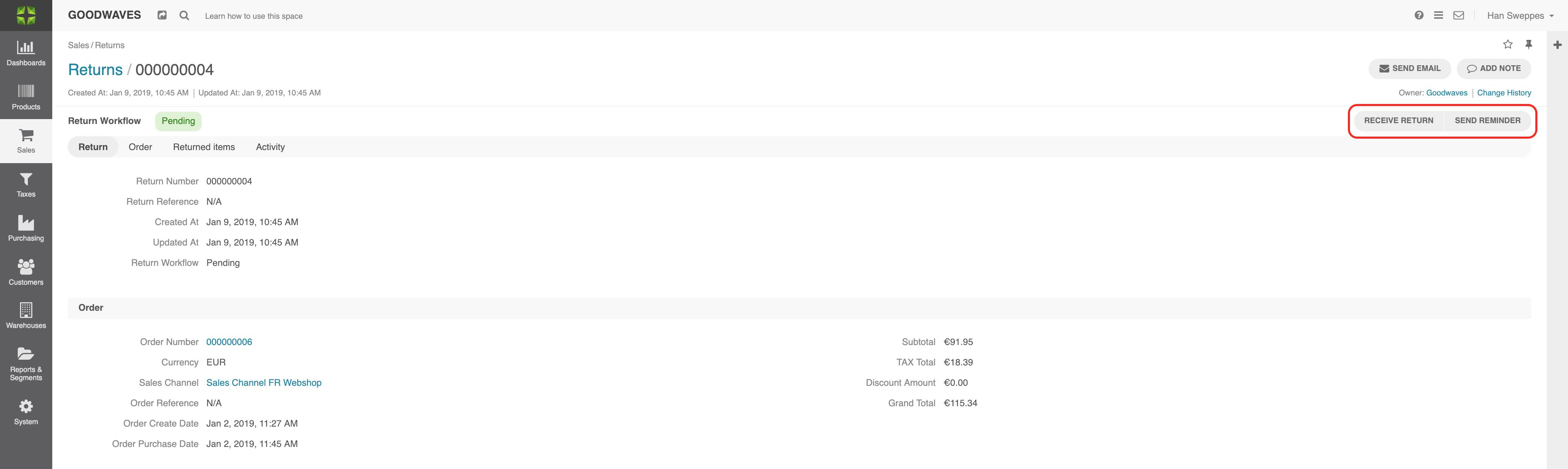 Screenshot of the Return workflow in Marello
